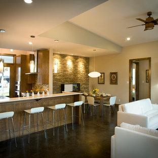 Idee per una grande cucina moderna con lavello sottopiano, ante lisce, ante in legno scuro, top alla veneziana, paraspruzzi multicolore, paraspruzzi con piastrelle a listelli, elettrodomestici in acciaio inossidabile, parquet scuro e isola