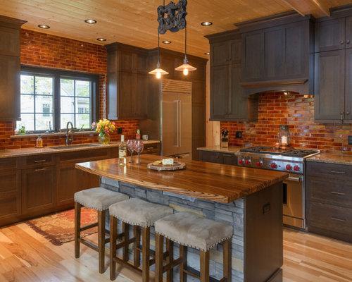 Kitchen with Dark Wood Cabinets Design Ideas & Remodel Pictures | Houzz