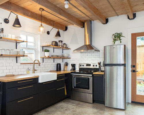Farmhouse Kitchen Inspiration   Example Of A Country L Shaped Concrete Floor  And Gray Floor