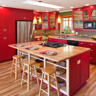 Timeless Red Contemporary Kitchen