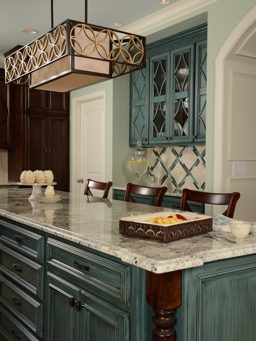 Nice Traditional Kitchen Idea In Birmingham With Blue Cabinets And  Recessed Panel Cabinets Part 31