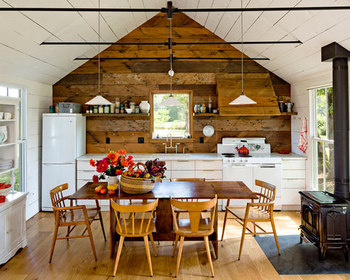 Country Single Wall Eat In Kitchen Photo Portland With White Liances Flat