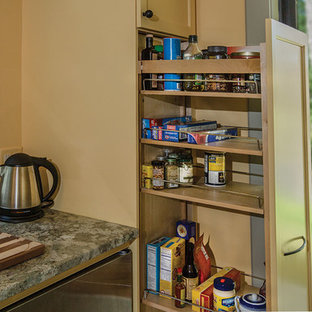 Foto de cocina de galera, tradicional, pequeña, abierta, con fregadero bajoencimera, armarios con paneles empotrados, puertas de armario beige, encimera de granito, electrodomésticos de acero inoxidable y moqueta
