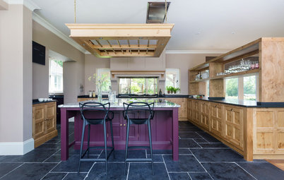 Wood and Aubergine in a Stylish English Farmhouse Kitchen