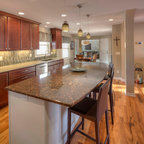 Apron Front Farm Sink and Industrial Faucet in Modern Bungalow - Eclectic - Kitchen - Los ...