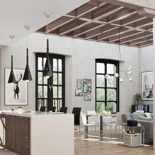 トロントのインダストリアルスタイルのおしゃれなキッチン (フラットパネル扉のキャビネット、中間色木目調キャビネット、珪岩カウンター、シルバーの調理設備の、無垢フローリング、ベージュの床) の写真