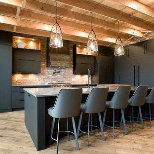 他の地域の巨大なコンテンポラリースタイルのおしゃれなキッチン (アンダーカウンターシンク、フラットパネル扉のキャビネット、グレーのキャビネット、クオーツストーンカウンター、マルチカラーのキッチンパネル、レンガのキッチンパネル、シルバーの調理設備の、淡色無垢フローリング、グレーのキッチンカウンター) の写真