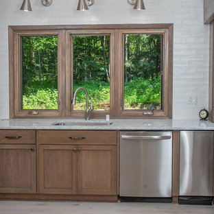Mid-sized transitional eat-in kitchen appliance - Inspiration for a mid-sized transitional eat-in kitchen remodel in Other with recessed-panel cabinets, medium tone wood cabinets, quartz countertops, white backsplash, stainless steel appliances and turquoise countertops