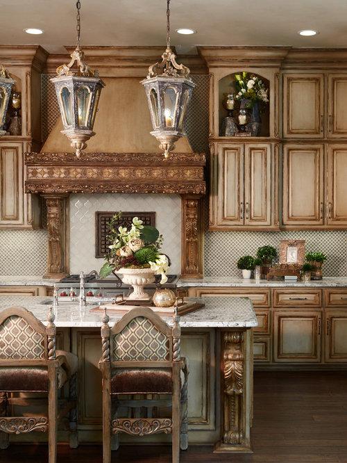 Mediterranean Kitchen Design Ideas & Remodel Pictures with Mosaic Tile Backsplash   Houzz