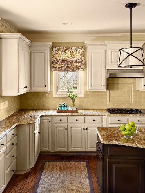 Nice Traditional Kitchen Idea In Charlotte With Subway Tile Backsplash And Granite  Countertops