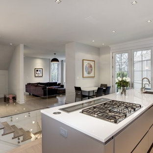 Huge modern eat-in kitchen photos - Example of a huge minimalist single-wall light wood floor eat-in kitchen design in DC Metro with an undermount sink, flat-panel cabinets, gray cabinets, quartzite countertops, stainless steel appliances and an island