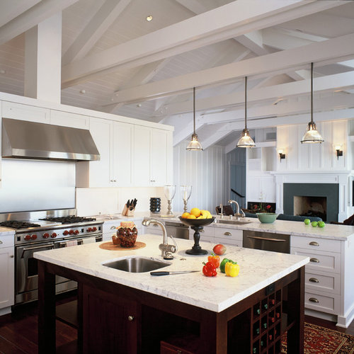 pendant lighting for vaulted ceilings. this is an example of a large nautical open plan kitchen in santa barbara with stainless pendant lighting for vaulted ceilings