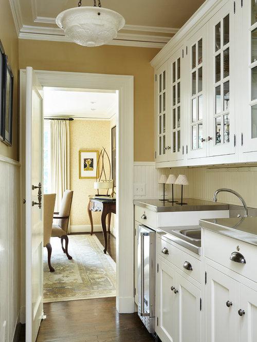 k chen mit edelstahl arbeitsplatte und vorratsschrank. Black Bedroom Furniture Sets. Home Design Ideas