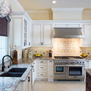 Cream Grey And Brown Granite Counter To
