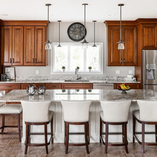 Large traditional kitchen appliance - Example of a large classic galley vinyl floor and brown floor kitchen design in Other with an undermount sink, raised-panel cabinets, dark wood cabinets, granite countertops, stainless steel appliances, an island and gray countertops