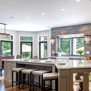 Traditional Gray and White Kitchen