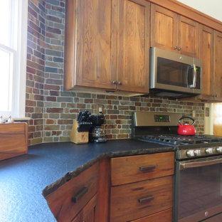 フィラデルフィアの中サイズのラスティックスタイルのおしゃれなキッチン (アンダーカウンターシンク、シェーカースタイル扉のキャビネット、ヴィンテージ仕上げキャビネット、御影石カウンター、マルチカラーのキッチンパネル、レンガのキッチンパネル、シルバーの調理設備の、テラコッタタイルの床、赤い床) の写真