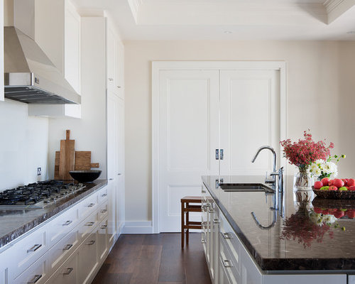 inspiration for a traditional galley kitchen in melbourne with a double bowl sink recessed - Glass Sheet Kitchen Design