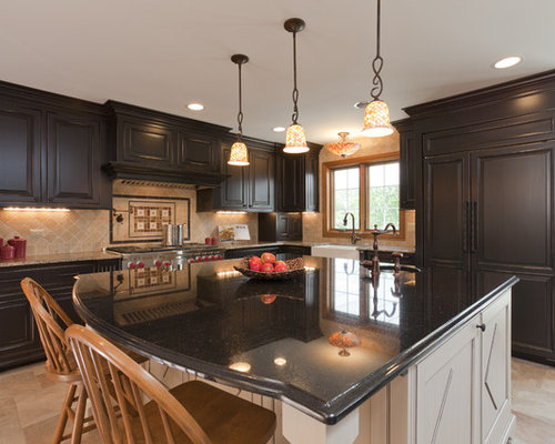 Dark Cabinets Light Island Home Design Ideas Pictures