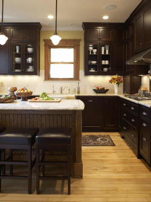 Dark cabinets light floor ideas pictures remodel and decor for Black kitchen cabinets with dark floors