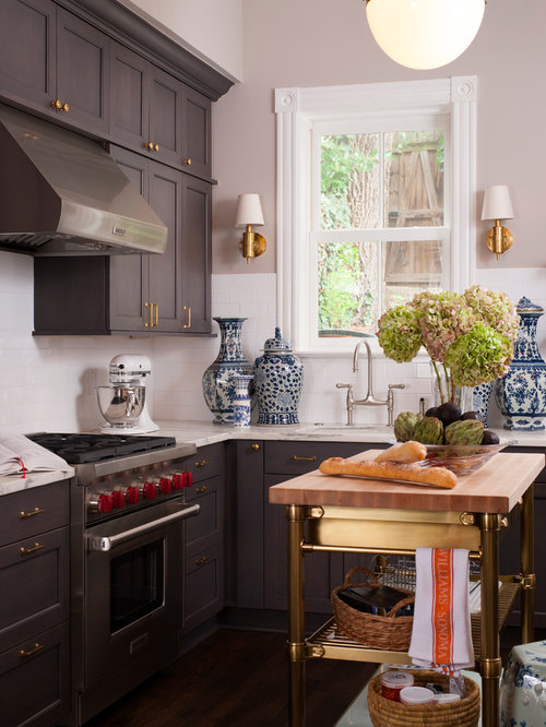 Small Elegant L Shaped Dark Wood Floor Kitchen Photo In DC Metro With An  Undermount