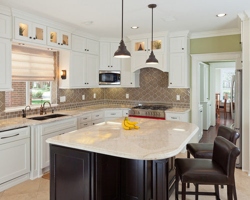 Example Of A Classic Kitchen Design In Houston With A Double Bowl Sink Recessed