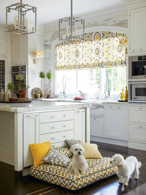 Traditional Kitchen Idea In Philadelphia With White Cabinets, White  Backsplash, Stainless Steel Appliances,