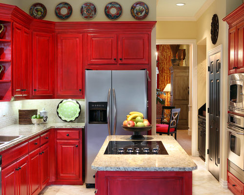 Red Cherry Cabinets Design Ideas & Remodel Pictures | Houzz