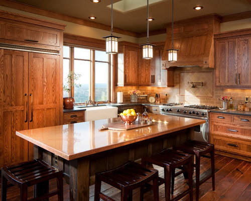 Best Kitchen With Copper Countertops And A Farmhouse Sink