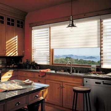 Traditional Kitchen- Custom Wood Cabinets- Hunter Douglas Pirouette