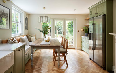 Kitchen Tour: Natural Light Streams into an Elegant Green Kitchen