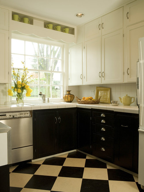 Elegant Multicolored Floor Kitchen Photo In Portland With Tile Countertops,  A Drop In Sink