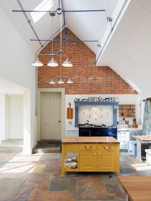 Yellow And Grey Kitchen Ideas Part - 41: Traditional Kitchen Ideas - Elegant Single-wall Slate Floor Kitchen Photo  In London With Yellow