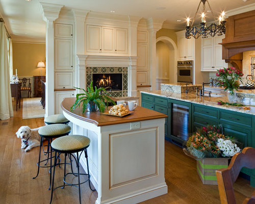 Teal Cabinets Kitchen Design Ideas & Remodel Pictures | Houzz