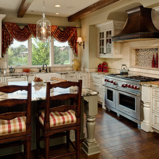 Traditional kitchen ideas - Elegant kitchen photo in Detroit with glass-front cabinets and stainless steel appliances
