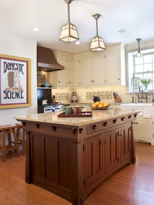 craftsman kitchen cabinets. Traditional kitchen idea in Philadelphia with shaker cabinets  white and multicolored backsplash Craftsman Island Houzz