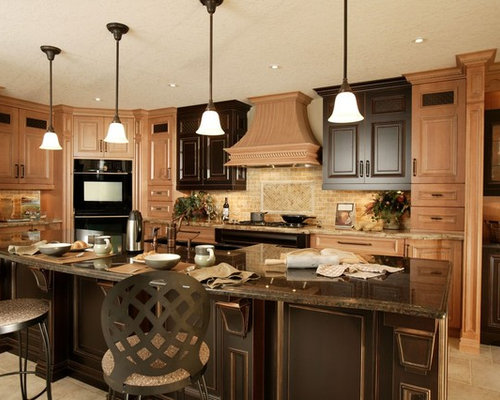 Light cabinet dark island houzz for Dark kitchen cabinets with light island
