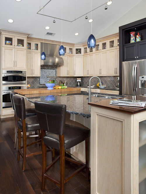 Inspiration for a timeless l-shaped kitchen remodel in Miami with  recessed-panel cabinets - Light Cabinets Dark Floors Houzz