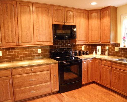 Honey oak cabinets houzz for Kitchen remodel keeping oak cabinets