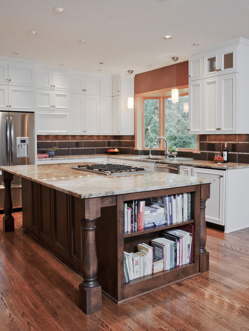 Inspiration for a timeless u-shaped open concept kitchen remodel in Other  with granite countertops