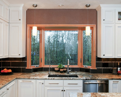 Traditional U Shaped Open Concept Kitchen Idea In Other With An Undermount  Sink, Granite