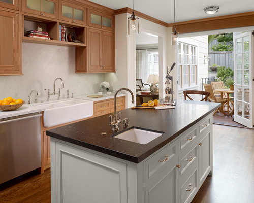 Traditional Kitchen Idea In San Francisco With Stainless Steel Appliances,  A Farmhouse Sink And Marble