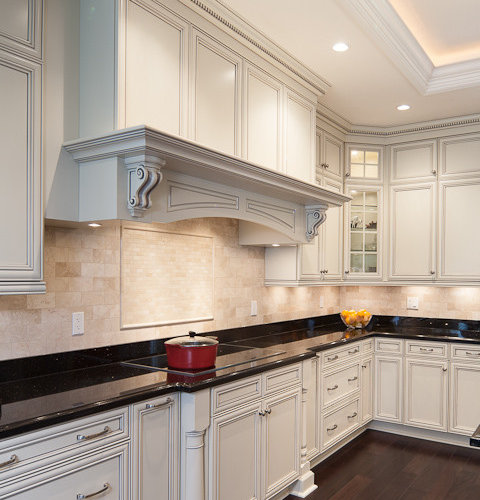 Pewter Glazed White Cabinetry