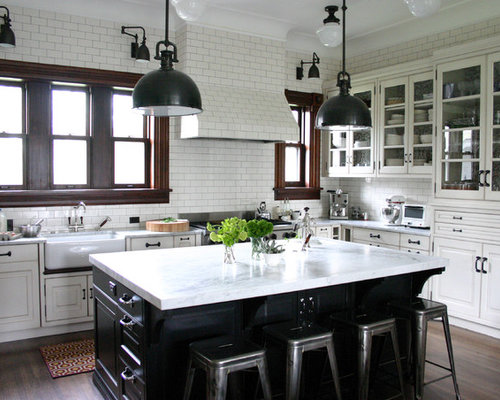 Traditional Kitchen Idea In Chicago With Glass Front Cabinets, Stainless  Steel Appliances, A  Kitchens With White Cabinets