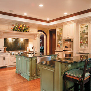 Inspiration for a traditional kitchen in Other with raised-panel cabinets, stainless steel appliances, green cabinets, black splashback and stone slab splashback.