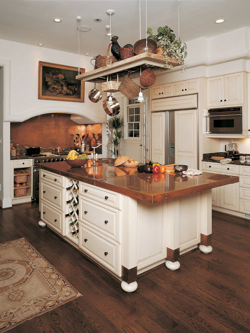 Elegant kitchen photo in Other with copper countertops, raised-panel  cabinets, beige cabinets