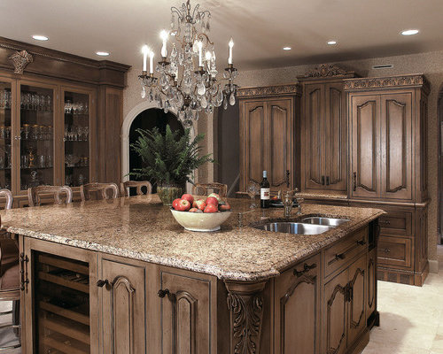 Inspiration For A Victorian Kitchen Remodel In Other With Glass Front  Cabinets, An Undermount