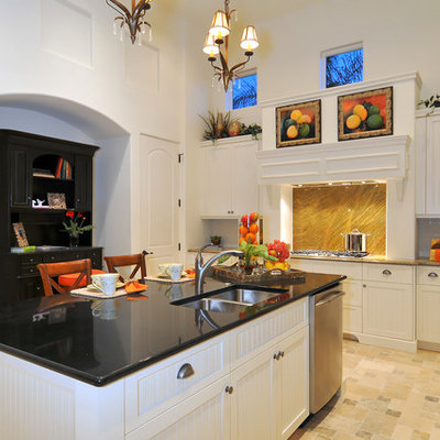 Open concept kitchen - traditional open concept kitchen idea in Other with granite countertops and stainless steel appliances