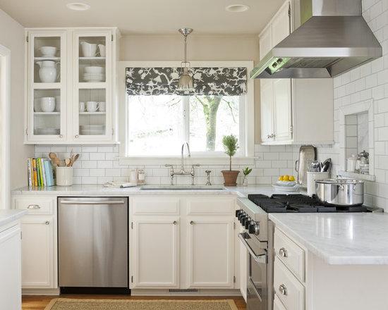 White And Grey Traditional Kitchen white subway backsplash gray grout | houzz