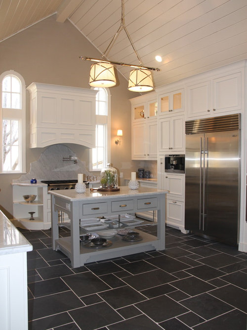 Slate mini versailles pattern backsplash ideas pictures for Traditional kitchen flooring